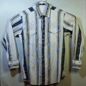 Western Snap Button Shirt Rockabilly Aztec Stripes